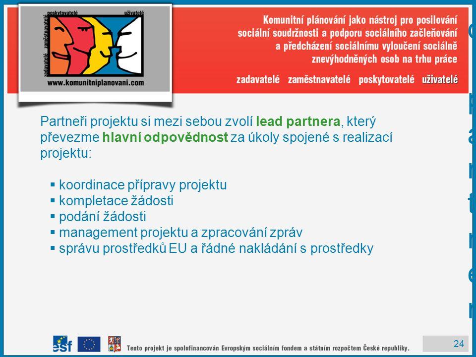 24 Cíl 3 – lead partner Cíl 3 – lead partner Partneři projektu si mezi sebou zvolí lead partnera, který převezme hlavní odpovědnost za úkoly spojené s realizací projektu:  koordinace přípravy projektu  kompletace žádosti  podání žádosti  management projektu a zpracování zpráv  správu prostředků EU a řádné nakládání s prostředky
