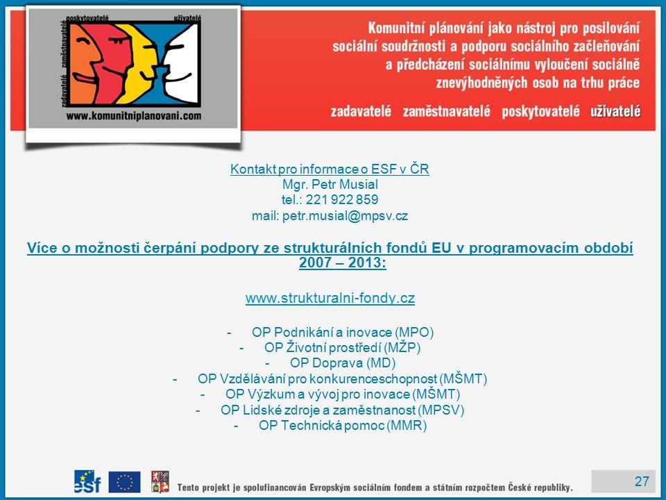 27 Kontakt pro informace o ESF v ČR Mgr.