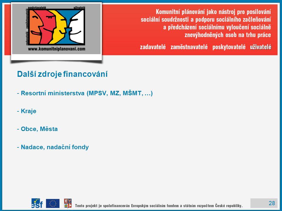 28 Další zdroje financování - Resortní ministerstva (MPSV, MZ, MŠMT, …) - Kraje - Obce, Města - Nadace, nadační fondy
