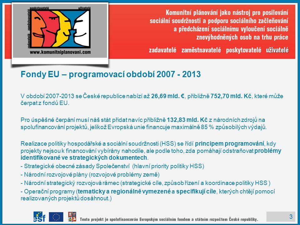 3 Fondy EU – programovací období 2007 - 2013 V období 2007-2013 se České republice nabízí až 26,69 mld.