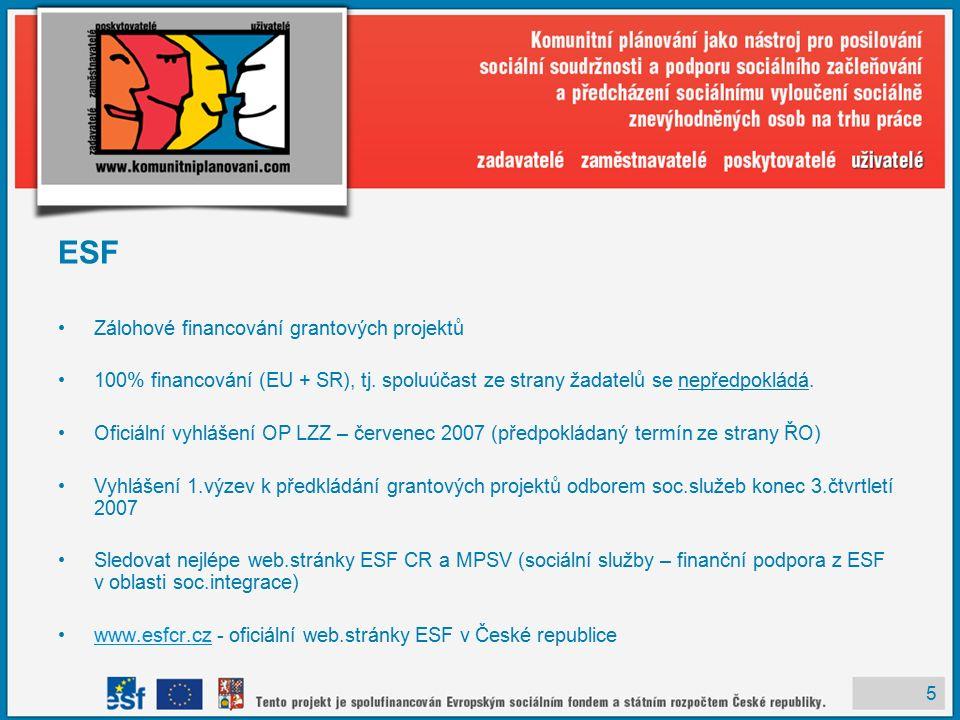 5 ESF Zálohové financování grantových projektů 100% financování (EU + SR), tj.