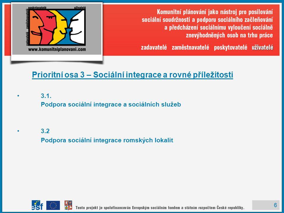 6 Prioritní osa 3 – Sociální integrace a rovné příležitosti 3.1.
