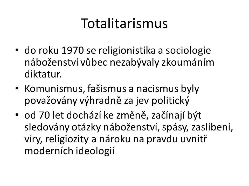 Totalitarismus do roku 1970 se religionistika a sociologie náboženství vůbec nezabývaly zkoumáním diktatur.