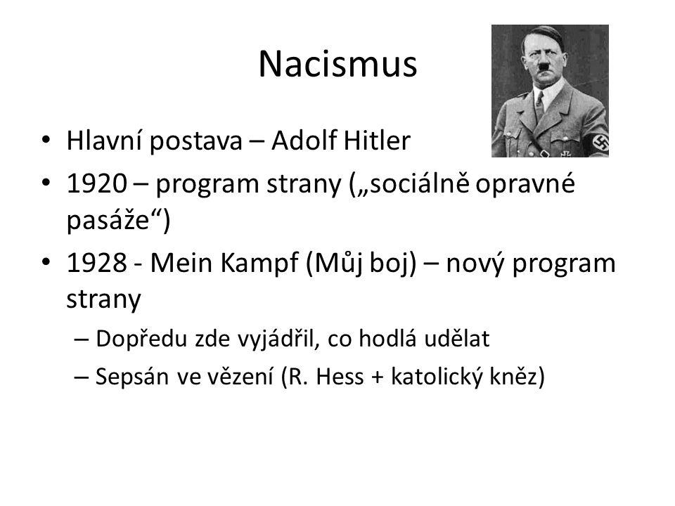 """Nacismus Hlavní postava – Adolf Hitler 1920 – program strany (""""sociálně opravné pasáže ) 1928 - Mein Kampf (Můj boj) – nový program strany – Dopředu zde vyjádřil, co hodlá udělat – Sepsán ve vězení (R."""