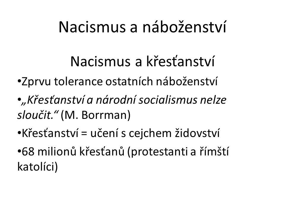 """Nacismus a náboženství Nacismus a křesťanství Zprvu tolerance ostatních náboženství """"Křesťanství a národní socialismus nelze sloučit. (M."""