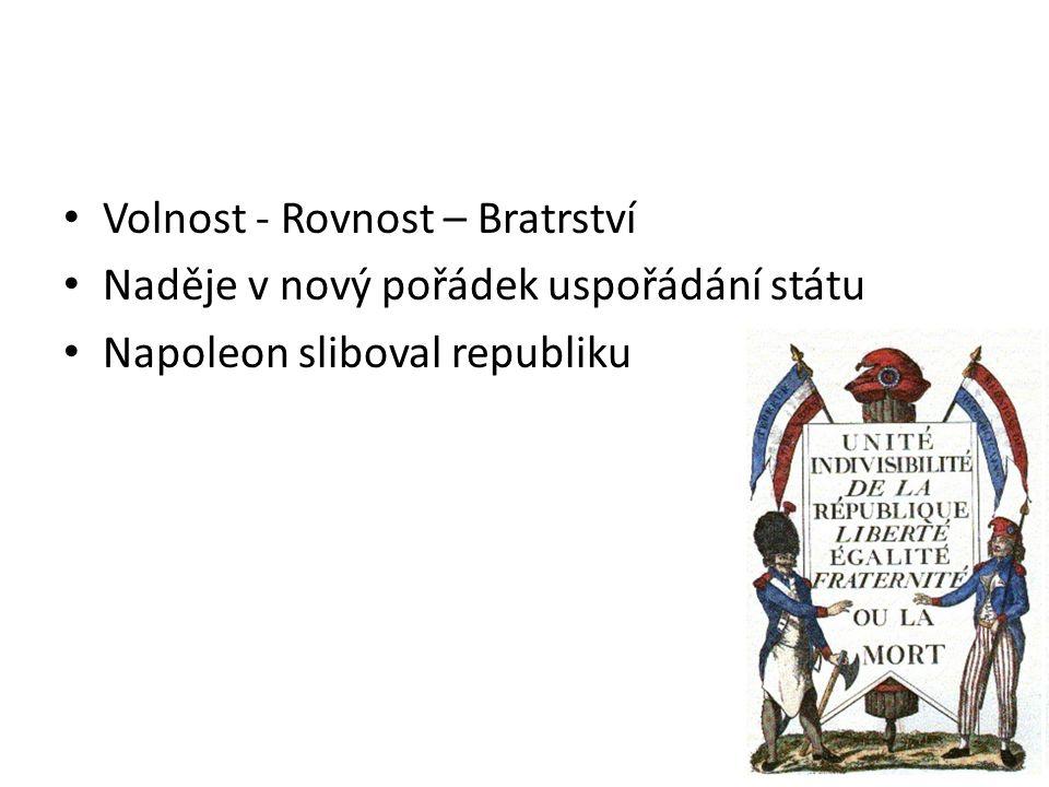Volnost - Rovnost – Bratrství Naděje v nový pořádek uspořádání státu Napoleon sliboval republiku