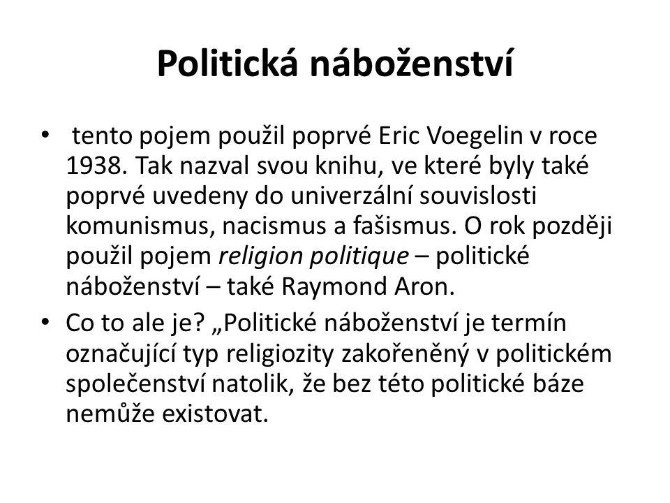 Politická náboženství tento pojem použil poprvé Eric Voegelin v roce 1938.