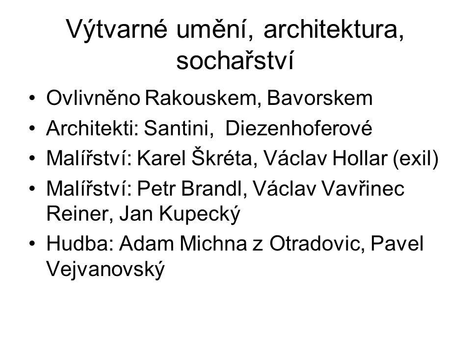 Výtvarné umění, architektura, sochařství Ovlivněno Rakouskem, Bavorskem Architekti: Santini, Diezenhoferové Malířství: Karel Škréta, Václav Hollar (ex