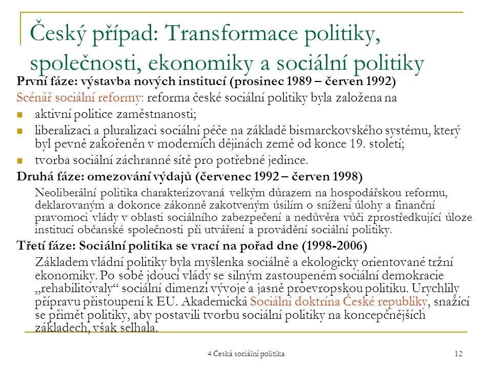 4 Česká sociální politika 12 Český případ: Transformace politiky, společnosti, ekonomiky a sociální politiky První fáze: výstavba nových institucí (pr