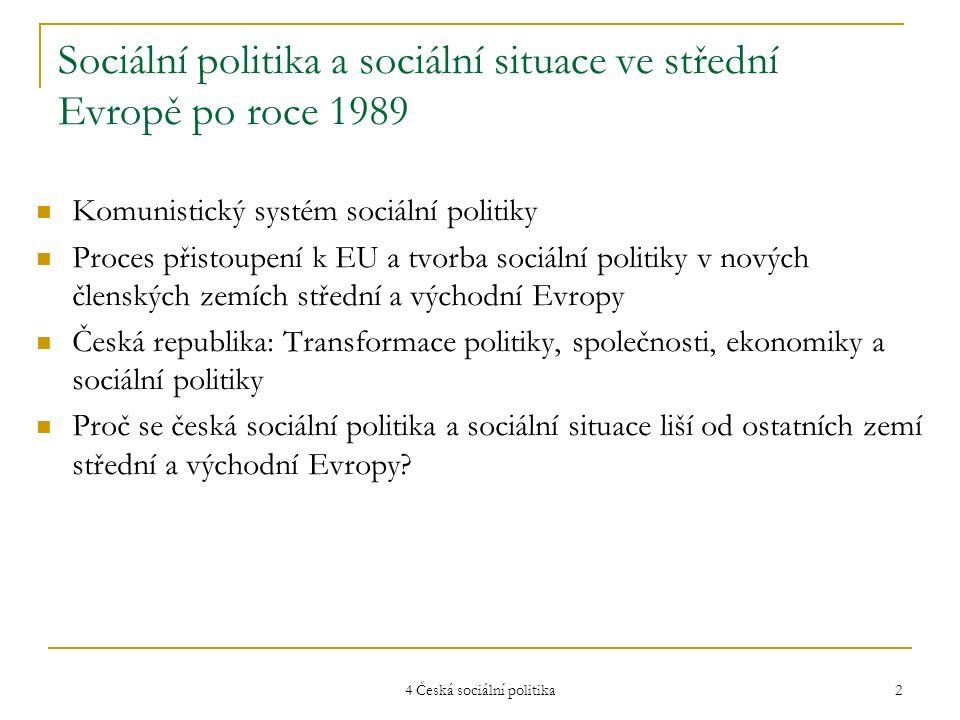 4 Česká sociální politika 2 Sociální politika a sociální situace ve střední Evropě po roce 1989 Komunistický systém sociální politiky Proces přistoupe