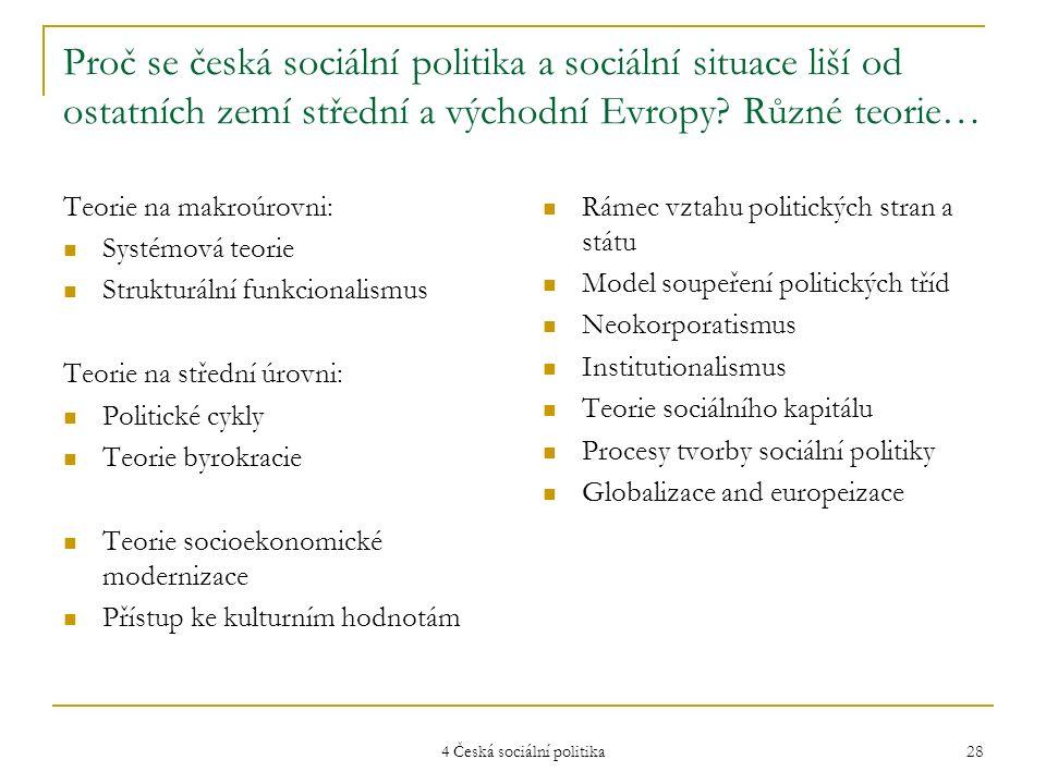 4 Česká sociální politika 28 Proč se česká sociální politika a sociální situace liší od ostatních zemí střední a východní Evropy? Různé teorie… Teorie