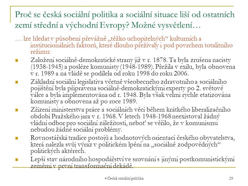 4 Česká sociální politika 29 Proč se česká sociální politika a sociální situace liší od ostatních zemí střední a východní Evropy? Možné vysvětlení… …