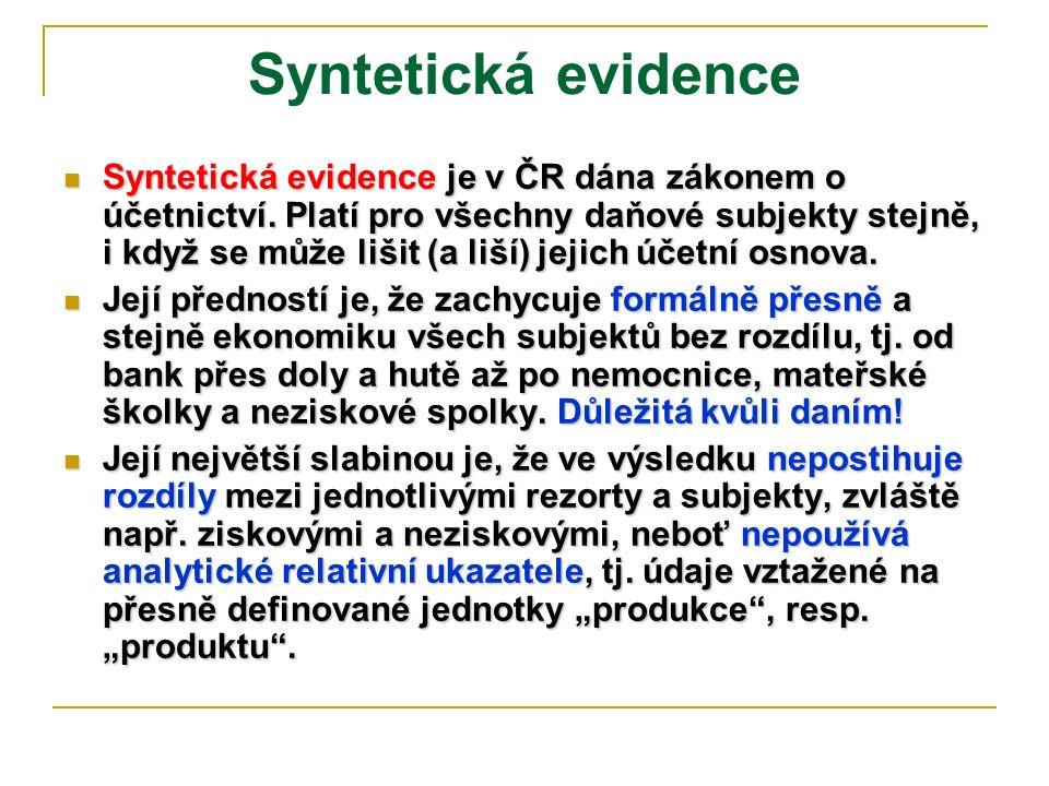 Syntetická evidence Syntetická evidence je v ČR dána zákonem o účetnictví. Platí pro všechny daňové subjekty stejně, i když se může lišit (a liší) jej