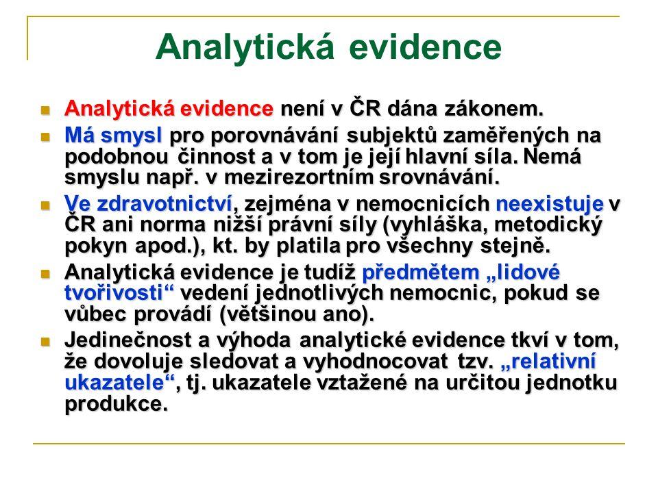 Analytická evidence Analytická evidence není v ČR dána zákonem. Analytická evidence není v ČR dána zákonem. Má smysl pro porovnávání subjektů zaměřený