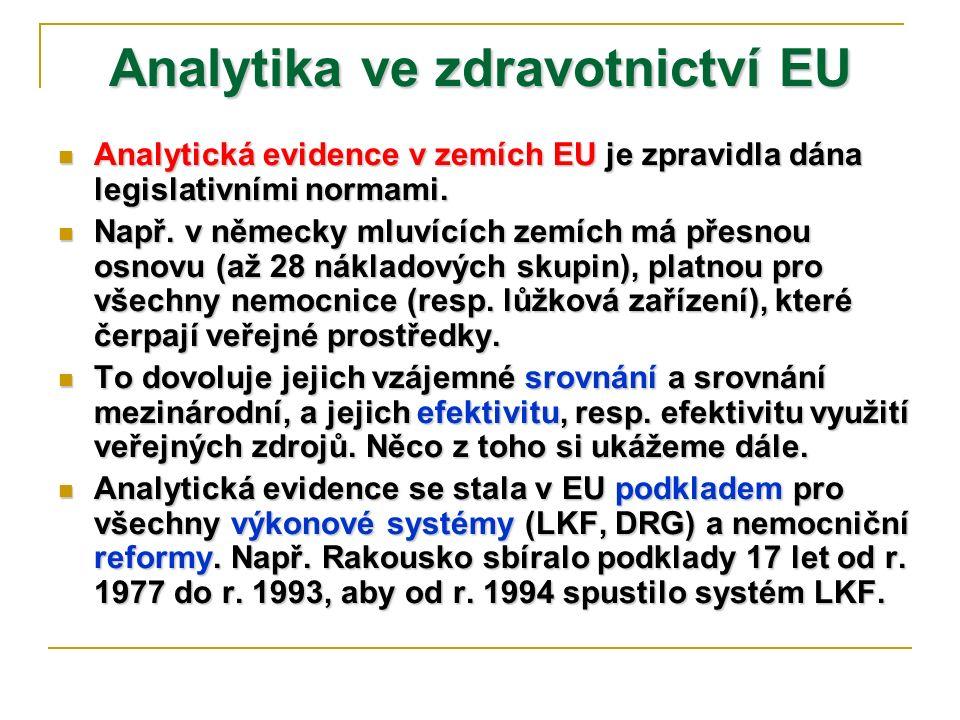 Analytika ve zdravotnictví EU Analytická evidence v zemích EU je zpravidla dána legislativními normami. Analytická evidence v zemích EU je zpravidla d