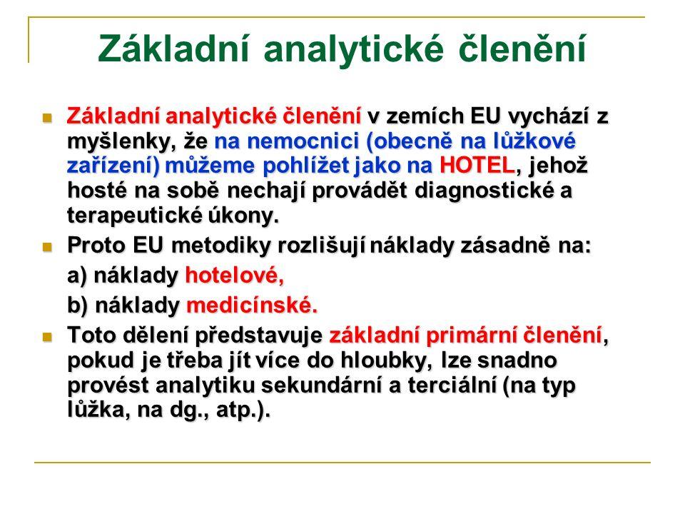 Základní analytické členění Základní analytické členění v zemích EU vychází z myšlenky, že na nemocnici (obecně na lůžkové zařízení) můžeme pohlížet j