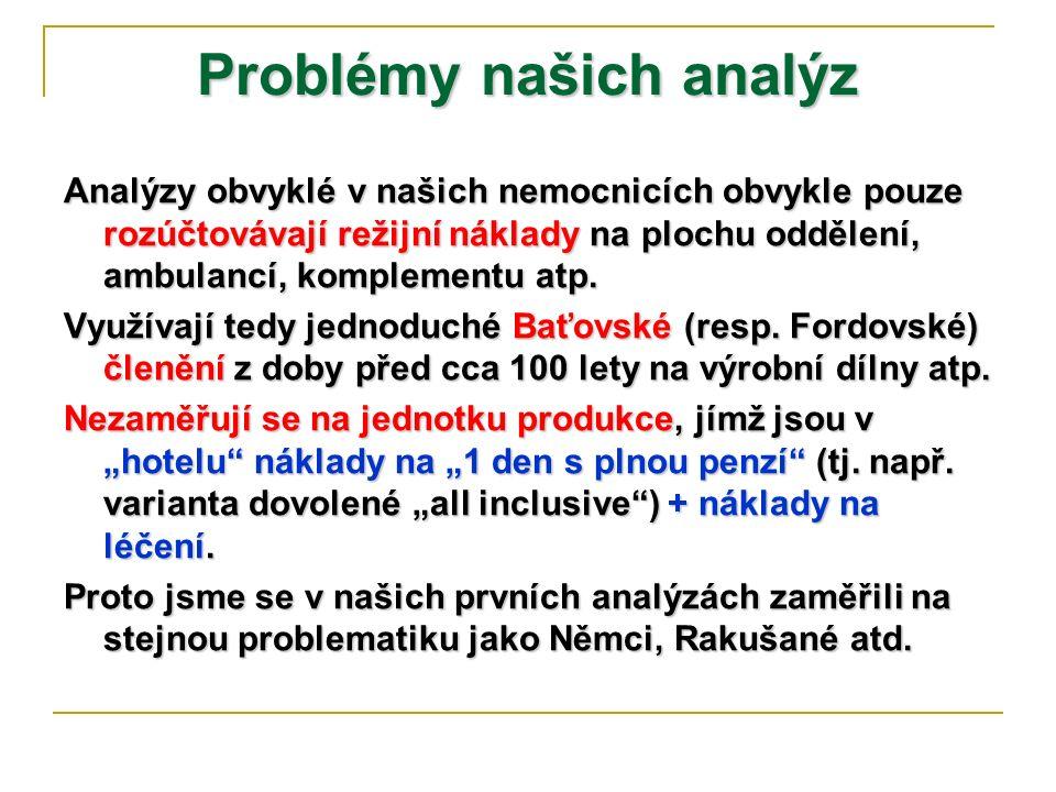 Počátky zdravotnické analytiky v ČR V ČR jsme začali se zdravotnickými analýzami obdobnými EU v lůžkových zařízeních až za ministra Fišera v r.
