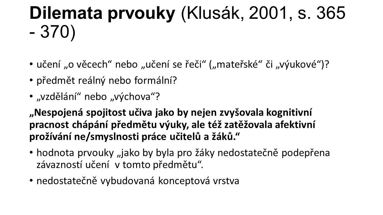 Dilemata prvouky (Klusák, 2001, s.