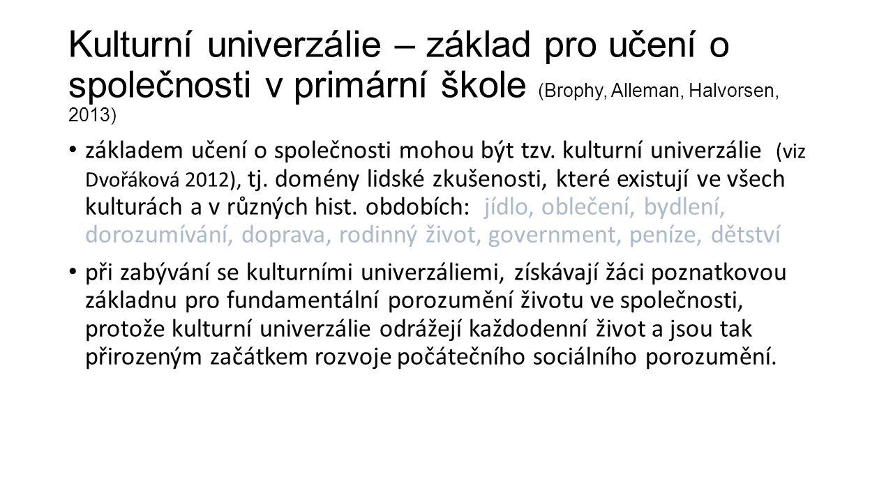 Kulturní univerzálie – základ pro učení o společnosti v primární škole (Brophy, Alleman, Halvorsen, 2013) základem učení o společnosti mohou být tzv.