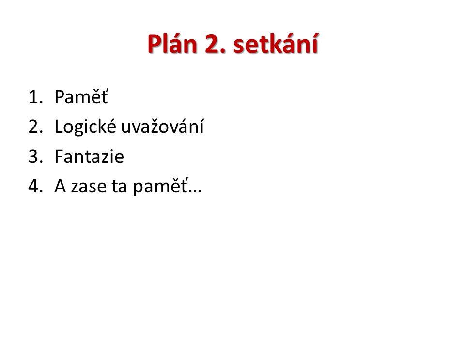 Plán 2. setkání 1.Paměť 2.Logické uvažování 3.Fantazie 4.A zase ta paměť…
