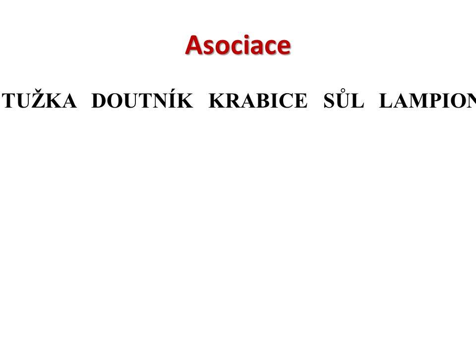 Asociace TUŽKA DOUTNÍK KRABICE SŮL LAMPION