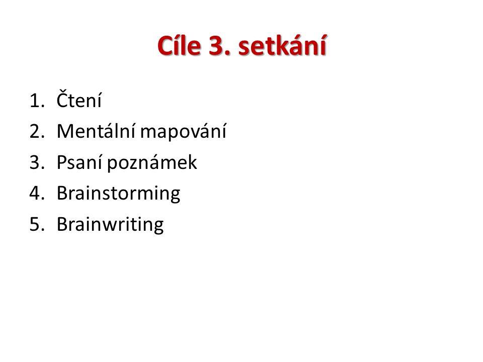 Cíle 3. setkání 1.Čtení 2.Mentální mapování 3.Psaní poznámek 4.Brainstorming 5.Brainwriting