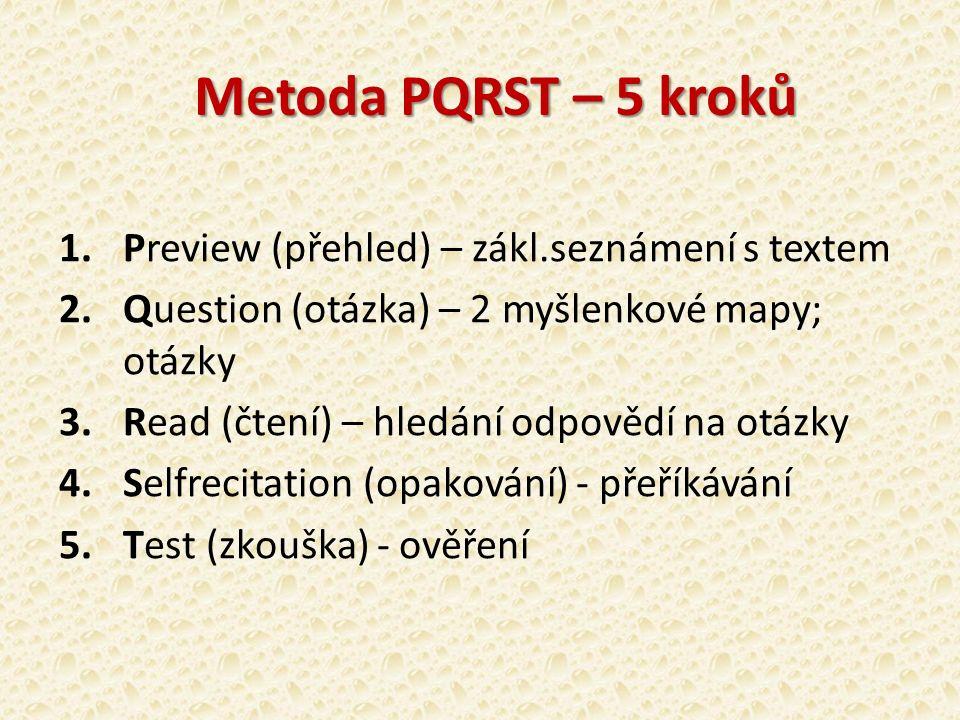 Metoda PQRST – 5 kroků 1.Preview (přehled) – zákl.seznámení s textem 2.Question (otázka) – 2 myšlenkové mapy; otázky 3.Read (čtení) – hledání odpovědí na otázky 4.Selfrecitation (opakování) - přeříkávání 5.Test (zkouška) - ověření