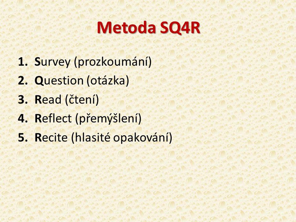 Metoda SQ4R 1.Survey (prozkoumání) 2.Question (otázka) 3.Read (čtení) 4.Reflect (přemýšlení) 5.Recite (hlasité opakování)