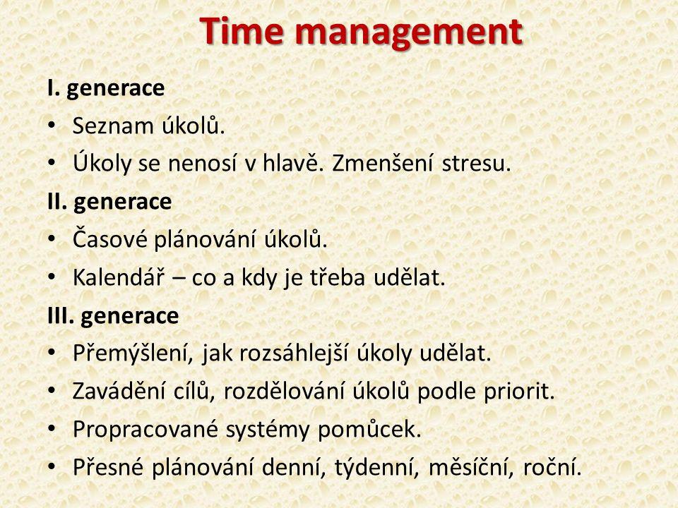 Time management I. generace Seznam úkolů. Úkoly se nenosí v hlavě.