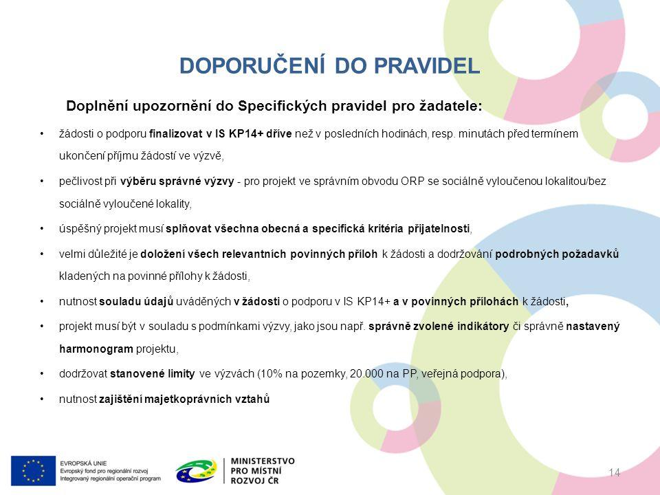 DOPORUČENÍ DO PRAVIDEL Doplnění upozornění do Specifických pravidel pro žadatele: žádosti o podporu finalizovat v IS KP14+ dříve než v posledních hodinách, resp.
