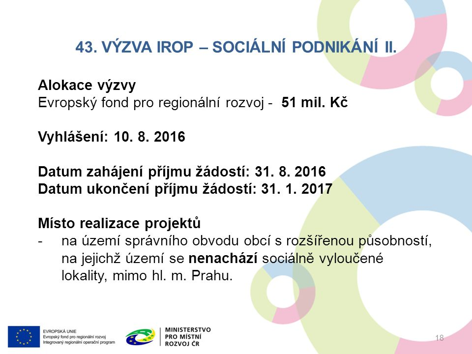 43. VÝZVA IROP – SOCIÁLNÍ PODNIKÁNÍ II.