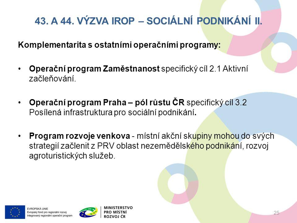 43. A 44. VÝZVA IROP – SOCIÁLNÍ PODNIKÁNÍ II.