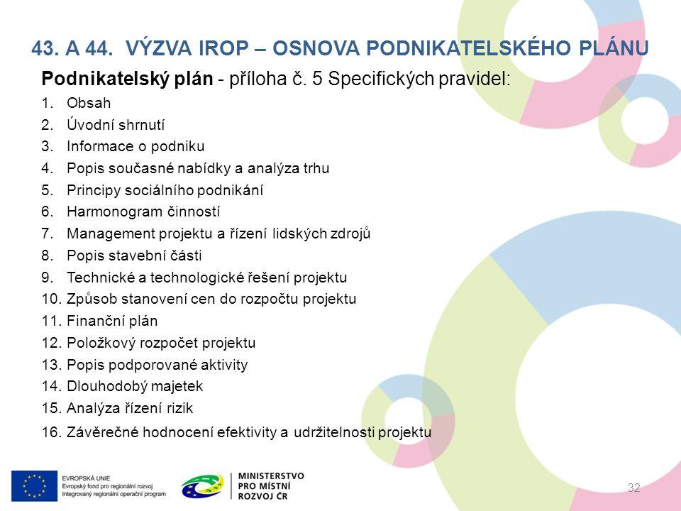 43. A 44. VÝZVA IROP – OSNOVA PODNIKATELSKÉHO PLÁNU Podnikatelský plán - příloha č.