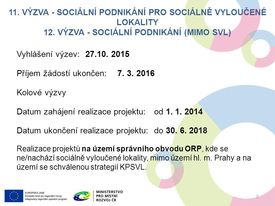 11. VÝZVA - SOCIÁLNÍ PODNIKÁNÍ PRO SOCIÁLNĚ VYLOUČENÉ LOKALITY 12.