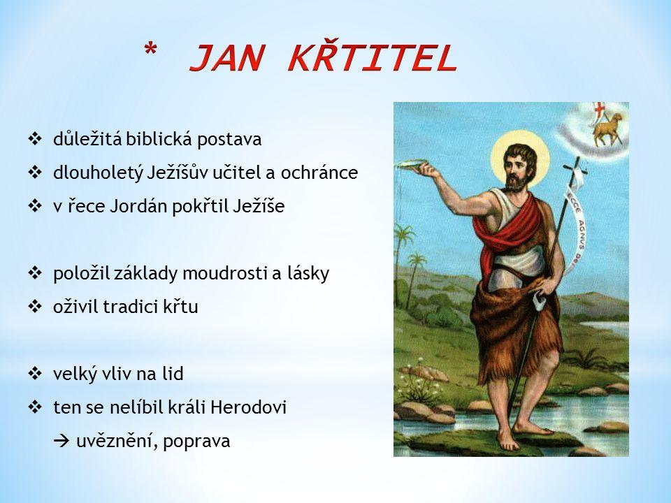  důležitá biblická postava  dlouholetý Ježíšův učitel a ochránce  v řece Jordán pokřtil Ježíše  položil základy moudrosti a lásky  oživil tradici