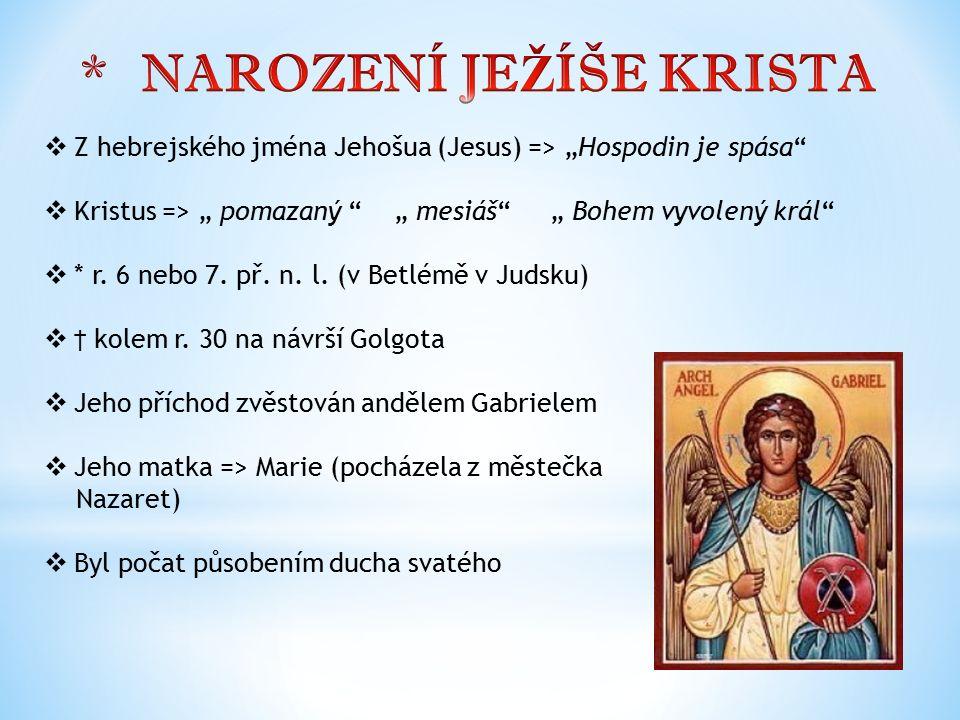 """ Z hebrejského jména Jehošua (Jesus) => """"Hospodin je spása""""  Kristus => """" pomazaný """" """" mesiáš"""" """" Bohem vyvolený král""""  * r. 6 nebo 7. př. n. l. (v"""