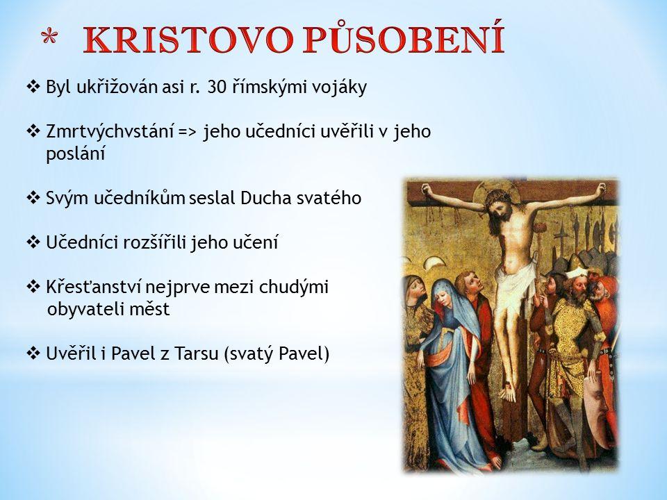  Byl ukřižován asi r. 30 římskými vojáky  Zmrtvýchvstání => jeho učedníci uvěřili v jeho poslání  Svým učedníkům seslal Ducha svatého  Učedníci ro