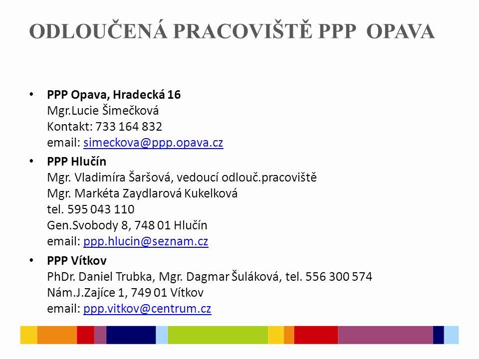 ODLOUČENÁ PRACOVIŠTĚ PPP OPAVA PPP Opava, Hradecká 16 Mgr.Lucie Šimečková Kontakt: 733 164 832 email: simeckova@ppp.opava.czsimeckova@ppp.opava.cz PPP Hlučín Mgr.
