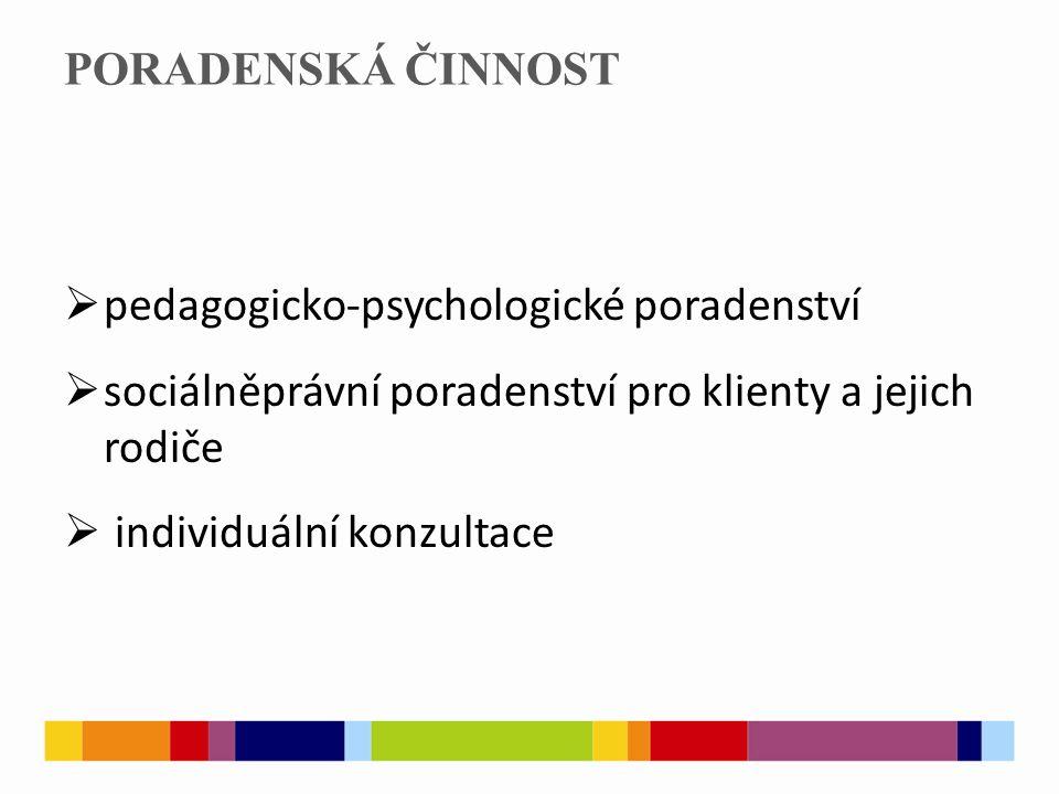 PORADENSKÁ ČINNOST  pedagogicko-psychologické poradenství  sociálněprávní poradenství pro klienty a jejich rodiče  individuální konzultace