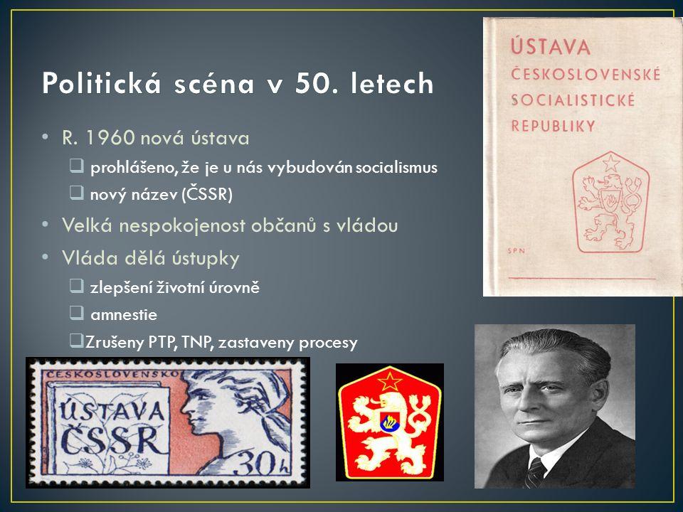 R. 1960 nová ústava  prohlášeno, že je u nás vybudován socialismus  nový název (ČSSR) Velká nespokojenost občanů s vládou Vláda dělá ústupky  zlepš