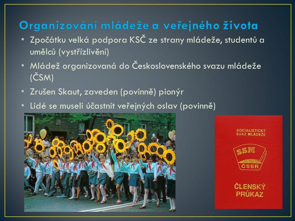 Zpočátku velká podpora KSČ ze strany mládeže, studentů a umělců (vystřízlivění) Mládež organizovaná do Československého svazu mládeže (ČSM) Zrušen Skaut, zaveden (povinně) pionýr Lidé se museli účastnit veřejných oslav (povinně)