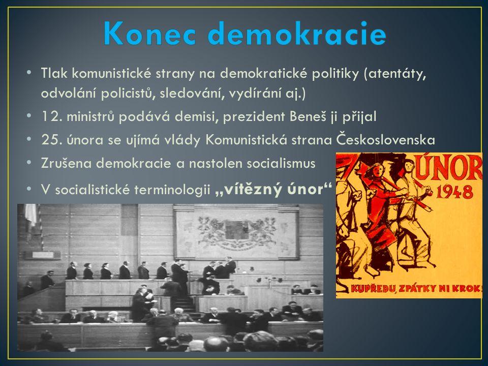 Tlak komunistické strany na demokratické politiky (atentáty, odvolání policistů, sledování, vydírání aj.) 12.