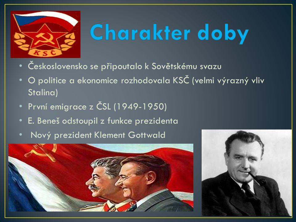 Československo se připoutalo k Sovětskému svazu O politice a ekonomice rozhodovala KSČ (velmi výrazný vliv Stalina) První emigrace z ČSL (1949-1950) E.