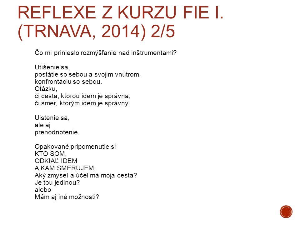 REFLEXE Z KURZU FIE I. (TRNAVA, 2014) 2/5 Čo mi prinieslo rozmýšľanie nad inštrumentami? Utíšenie sa, postátie so sebou a svojim vnútrom, konfrontáciu