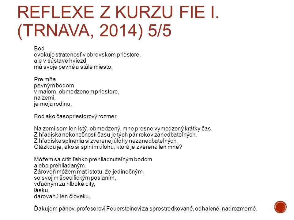 REFLEXE Z KURZU FIE I. (TRNAVA, 2014) 5/5 Bod evokuje stratenosť v obrovskom priestore, ale v sústave hviezd má svoje pevné a stále miesto. Pre mňa, p