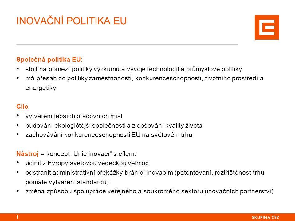 """INOVAČNÍ POLITIKA EU Společná politika EU: stojí na pomezí politiky výzkumu a vývoje technologií a průmyslové politiky má přesah do politiky zaměstnanosti, konkurenceschopnosti, životního prostředí a energetiky Cíle: vytváření lepších pracovních míst budování ekologičtější společnosti a zlepšování kvality života zachovávání konkurenceschopnosti EU na světovém trhu Nástroj = koncept """"Unie inovací s cílem: učinit z Evropy světovou vědeckou velmoc odstranit administrativní překážky bránící inovacím (patentování, roztříštěnost trhu, pomalé vytváření standardů) změna způsobu spolupráce veřejného a soukromého sektoru (inovačních partnerství) 1"""
