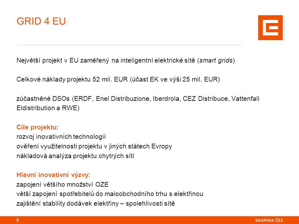GRID 4 EU Největší projekt v EU zaměřený na inteligentní elektrické sítě (smart grids) Celkové náklady projektu 52 mil.