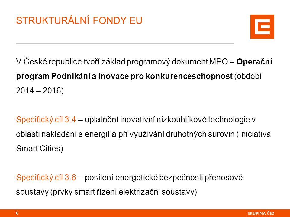 STRUKTURÁLNÍ FONDY EU V České republice tvoří základ programový dokument MPO – Operační program Podnikání a inovace pro konkurenceschopnost (období 2014 – 2016) Specifický cíl 3.4 – uplatnění inovativní nízkouhlíkové technologie v oblasti nakládání s energií a při využívání druhotných surovin (Iniciativa Smart Cities) Specifický cíl 3.6 – posílení energetické bezpečnosti přenosové soustavy (prvky smart řízení elektrizační soustavy) 8