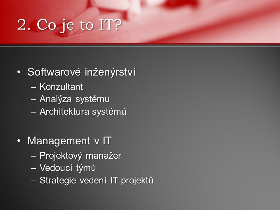 Softwarové inženýrstvíSoftwarové inženýrství –Konzultant –Analýza systému –Architektura systémů Management v ITManagement v IT –Projektový manažer –Vedoucí týmů –Strategie vedení IT projektů 2.