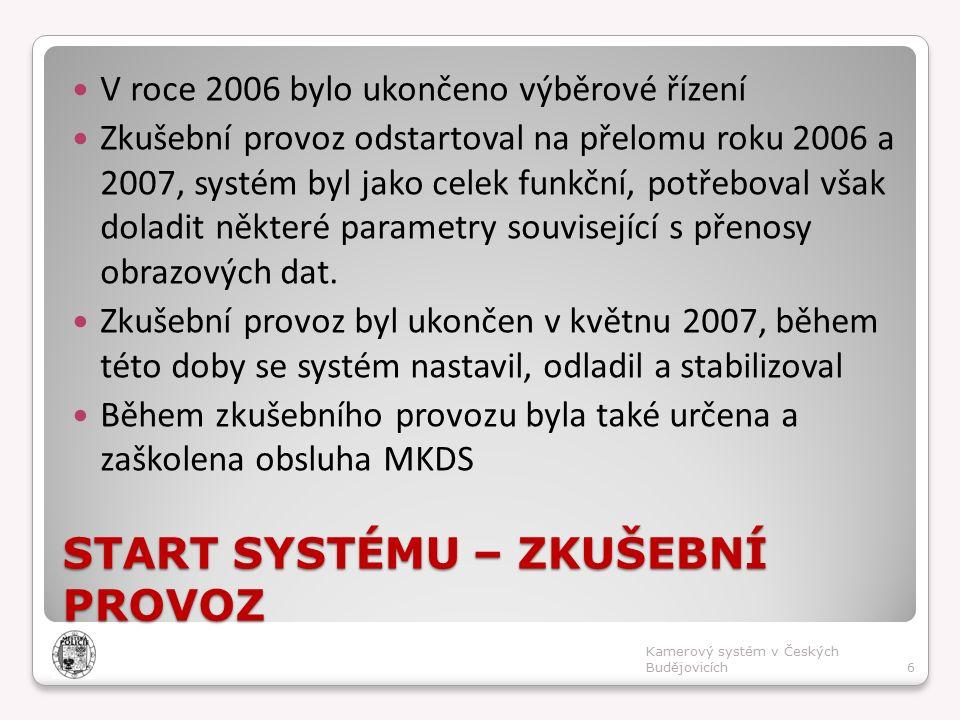 START SYSTÉMU – ZKUŠEBNÍ PROVOZ V roce 2006 bylo ukončeno výběrové řízení Zkušební provoz odstartoval na přelomu roku 2006 a 2007, systém byl jako celek funkční, potřeboval však doladit některé parametry související s přenosy obrazových dat.